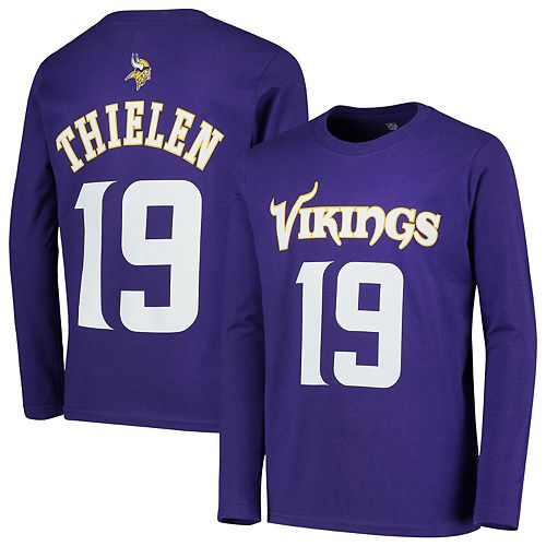 online retailer ee232 1c307 Youth Adam Thielen Purple Minnesota Vikings Mainliner Name & Number Long  Sleeve T-Shirt