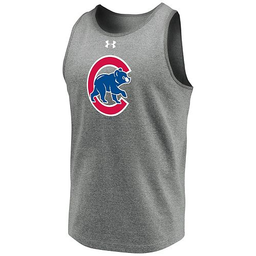 Men's Under Armour Heathered Gray Chicago Cubs Loyalty Team Mark Tank Top