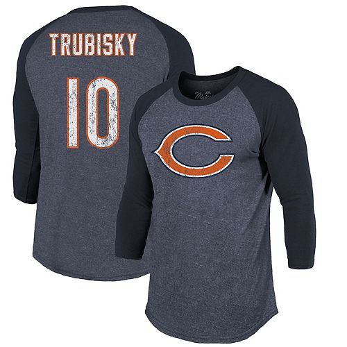 separation shoes 7d653 7bfe1 Men's Majestic Threads Mitchell Trubisky Navy Chicago Bears Player Name &  Number Raglan Tri-Blend 3/4-Sleeve T-Shirt