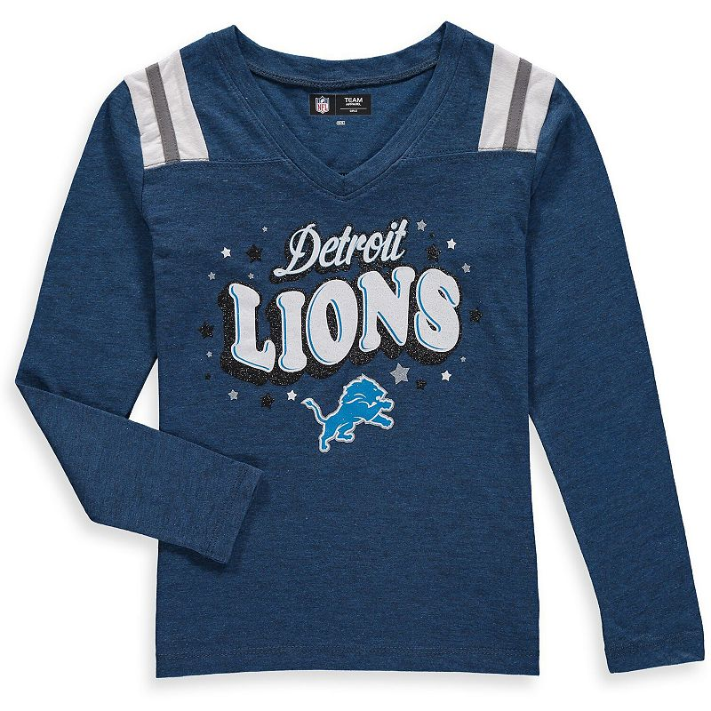 Girls Youth New Era Royal Detroit Lions Starring Role Long Sleeve Tri-Blend V-Neck T-Shirt, Girl's, Size: Youth XL, Blue