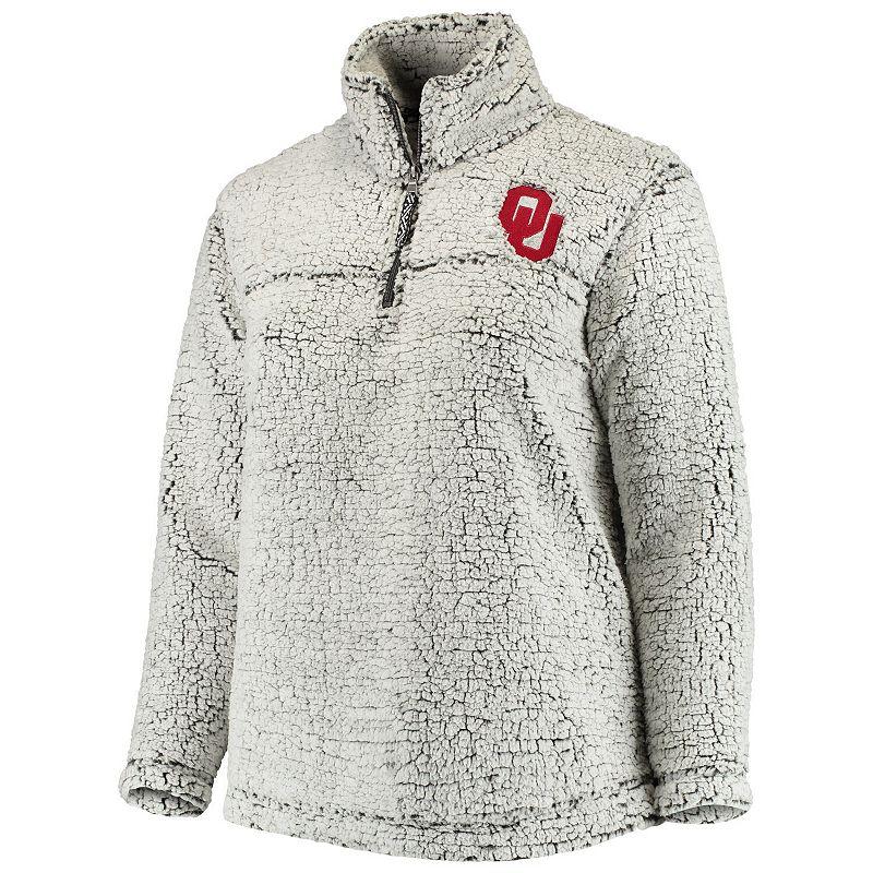 Women's Heathered Gray Oklahoma Sooners Plus Size Sherpa Quarter-Zip Pullover Jacket, Size: PLUS 4XL, Grey