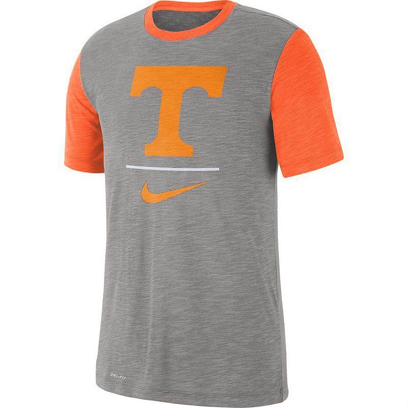 Men's Nike Heathered Gray/Tennessee Orange Tennessee Volunteers Baseball Performance Cotton Slub T-Shirt, Size: Medium, Grey