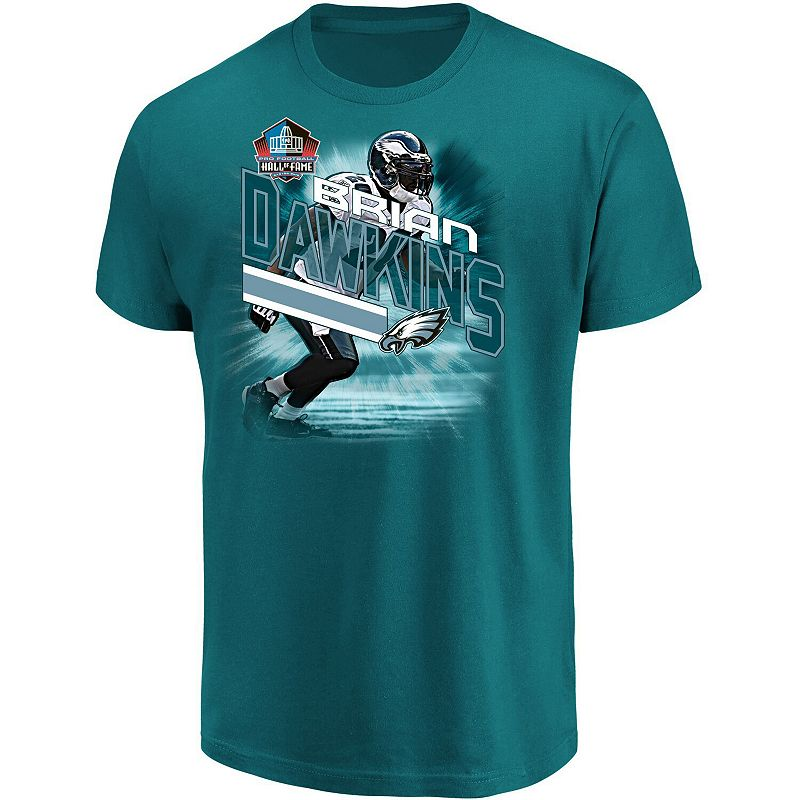 Men's Majestic Brian Dawkins Midnight Green Philadelphia Eagles NFL Hall of Fame Inductee Player Illustration T-Shirt, Size: Small