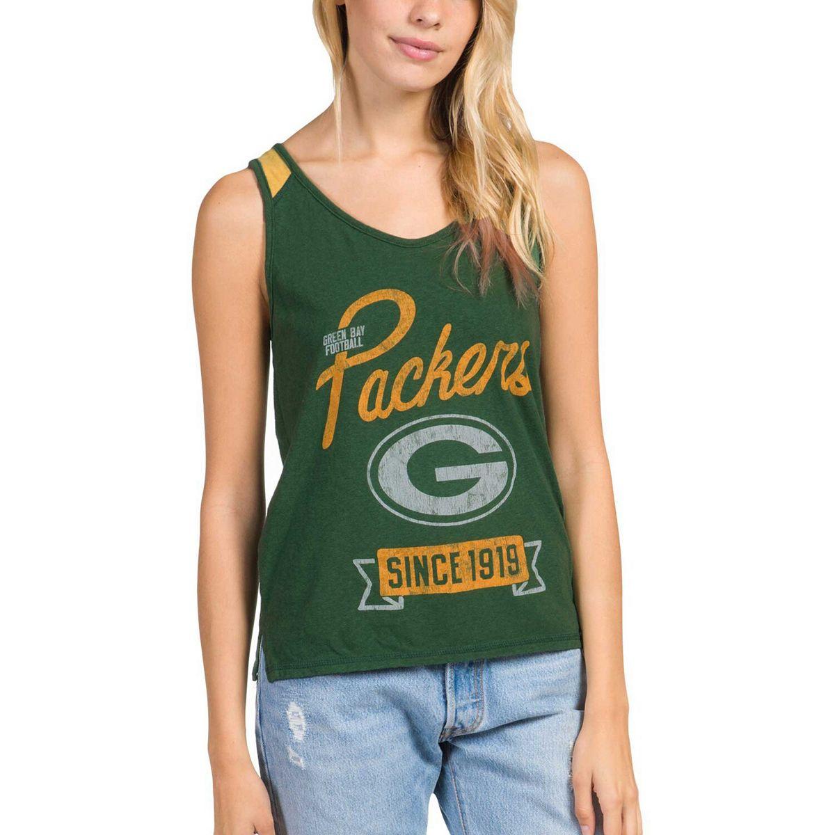 Women's Junk Food Green Green Bay Packers Sideline Tank Top QqU08