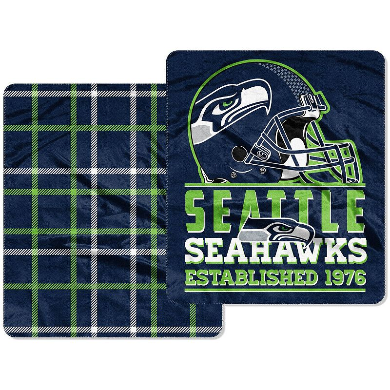 The Northwest Company Seattle Seahawks Home Field Cloud 60'' x 70'' Double-Sided Plush Throw Blanket, Blue Team