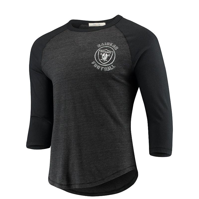 Men's Junk Food Heathered Black/Black Oakland Raiders Contrast 3/4-Sleeve Raglan Tri-Blend T-Shirt, Size: Small, Grey