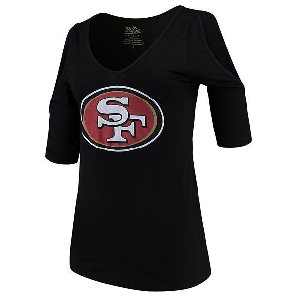 Women's Majestic Threads Black San Francisco 49ers Cold Shoulder 3/4-Sleeve V-Neck T-Shirt