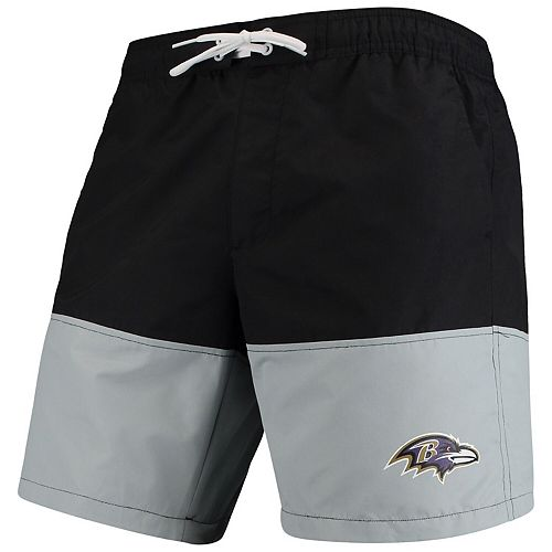 Men's G-III Sports by Carl Banks Black/Gray Baltimore Ravens Anchor Volley Swim Trunks