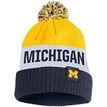 Men's Nike Maize Michigan Wolverines Team Name Cuffed Knit Hat with Pom