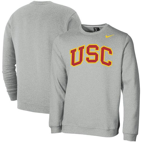 Men's Nike Heathered Gray USC Trojans Vault Logo Club Fleece Crew Neck  Sweatshirt