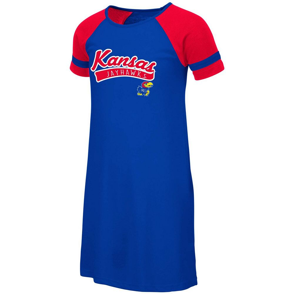 Youth Colosseum Royal Kansas Jayhawks Vienna Raglan Dress