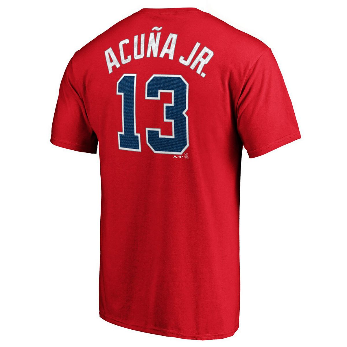 Men's Majestic Ronald Acuna Jr. Red Atlanta Braves Official Player Name & Number T-Shirt qF7tk