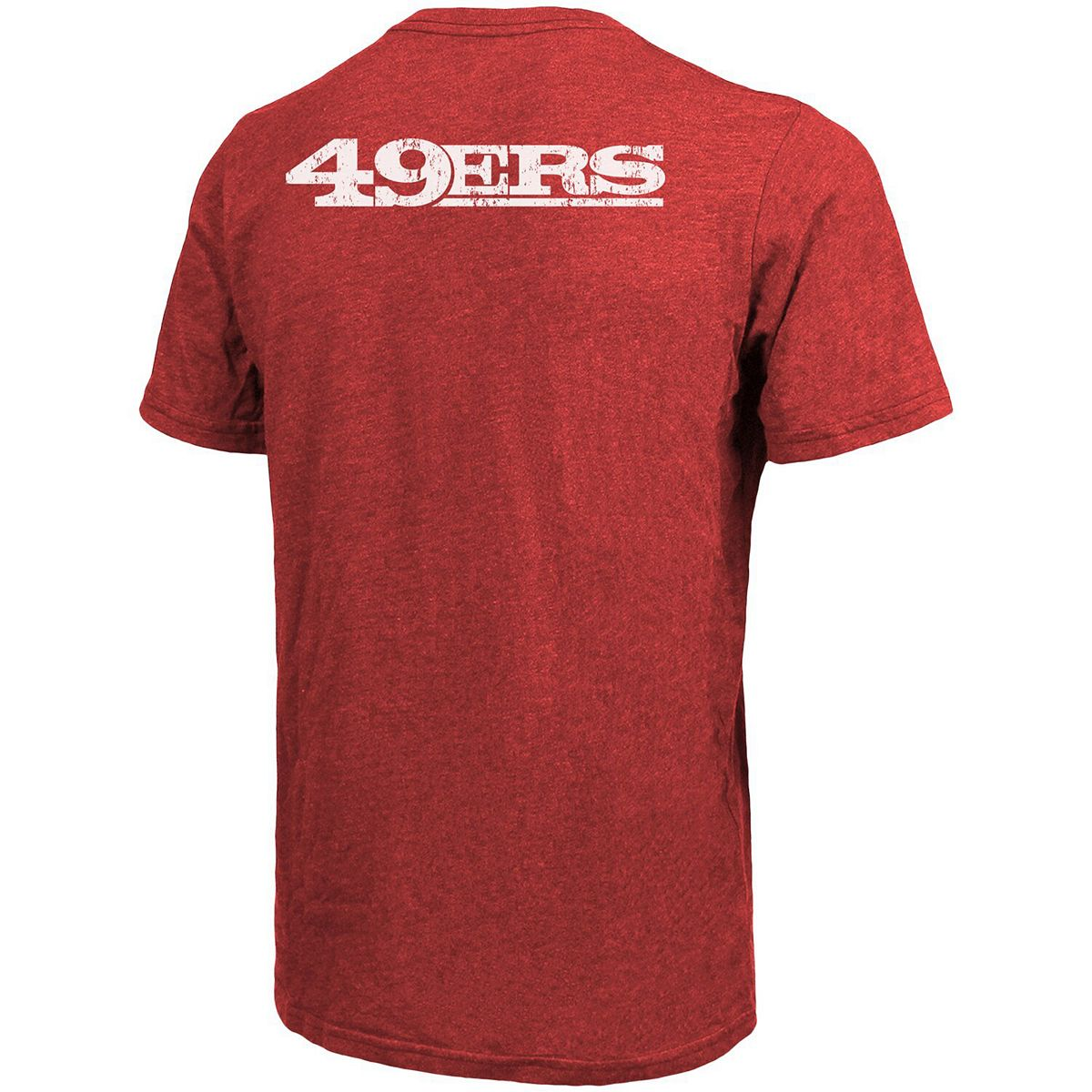 San Francisco 49ers Majestic Threads Tri-Blend Pocket T-Shirt - Scarlet XTZ1a