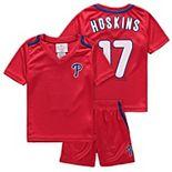 Preschool & Toddler Majestic Rhys Hoskins Red Philadelphia Phillies Ballpark Champ Name & Number V-Neck T-Shirt & Shorts Set