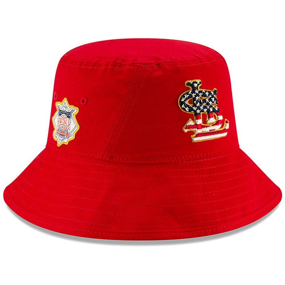 Men's New Era Red St. Louis Cardinals 2019 Stars & Stripes 4th of July Bucket Hat