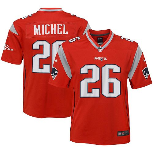 new style e544b 7120a Youth Nike Sony Michel Red New England Patriots Inverted Game Jersey