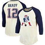 Tom Brady New England Patriots Majestic Threads Vintage Inspired Player Name & Number 3/4-Sleeve Raglan T-Shirt - Cream/Navy