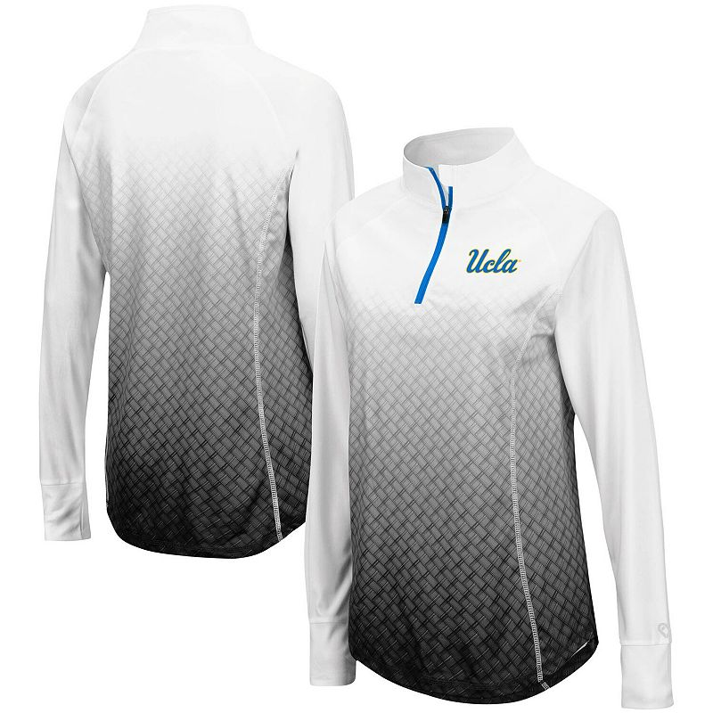 Women's Colosseum Black UCLA Bruins Magic Ombre Quarter-Zip Raglan Jacket, Size: Medium