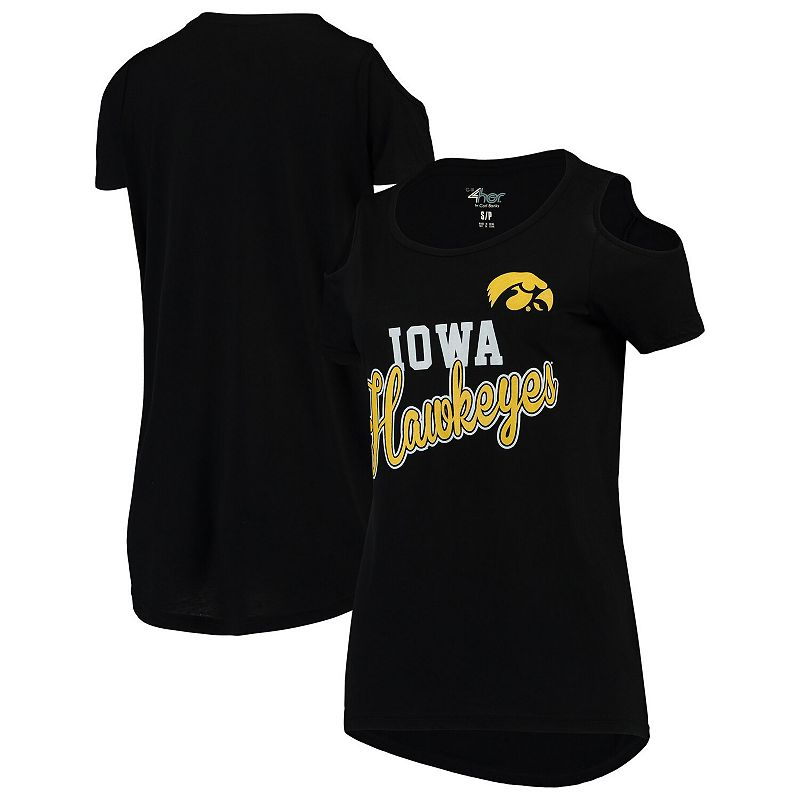 Women's G-III 4Her by Carl Banks Black Iowa Hawkeyes Clear the Bases Cold Shoulder T-Shirt, Size: 2XL