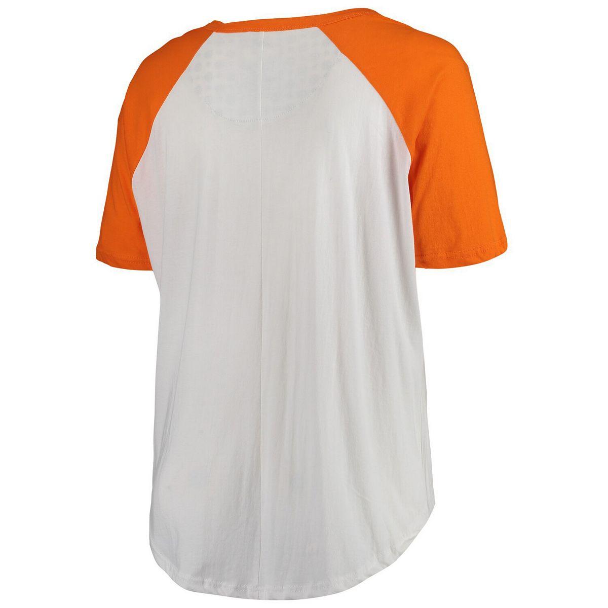 Women's Pressbox White/Tennessee Orange Tennessee Volunteers Plus Size Abbie Criss-Cross Raglan Choker T-Shirt GtT7R