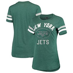 Women's G-III 4Her by Carl Banks Green New York Jets Extra Point Bling Tri-Blend T-Shirt