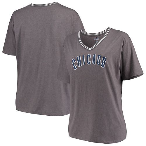 quality design 12539 628c3 Chicago Cubs Majestic Women's Plus Size Rib V-Neck T-Shirt - Heathered Gray