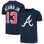 Youth Majestic Ronald Acuna Jr. Navy Atlanta Braves Player Cap Logo Name & Number T-Shirt