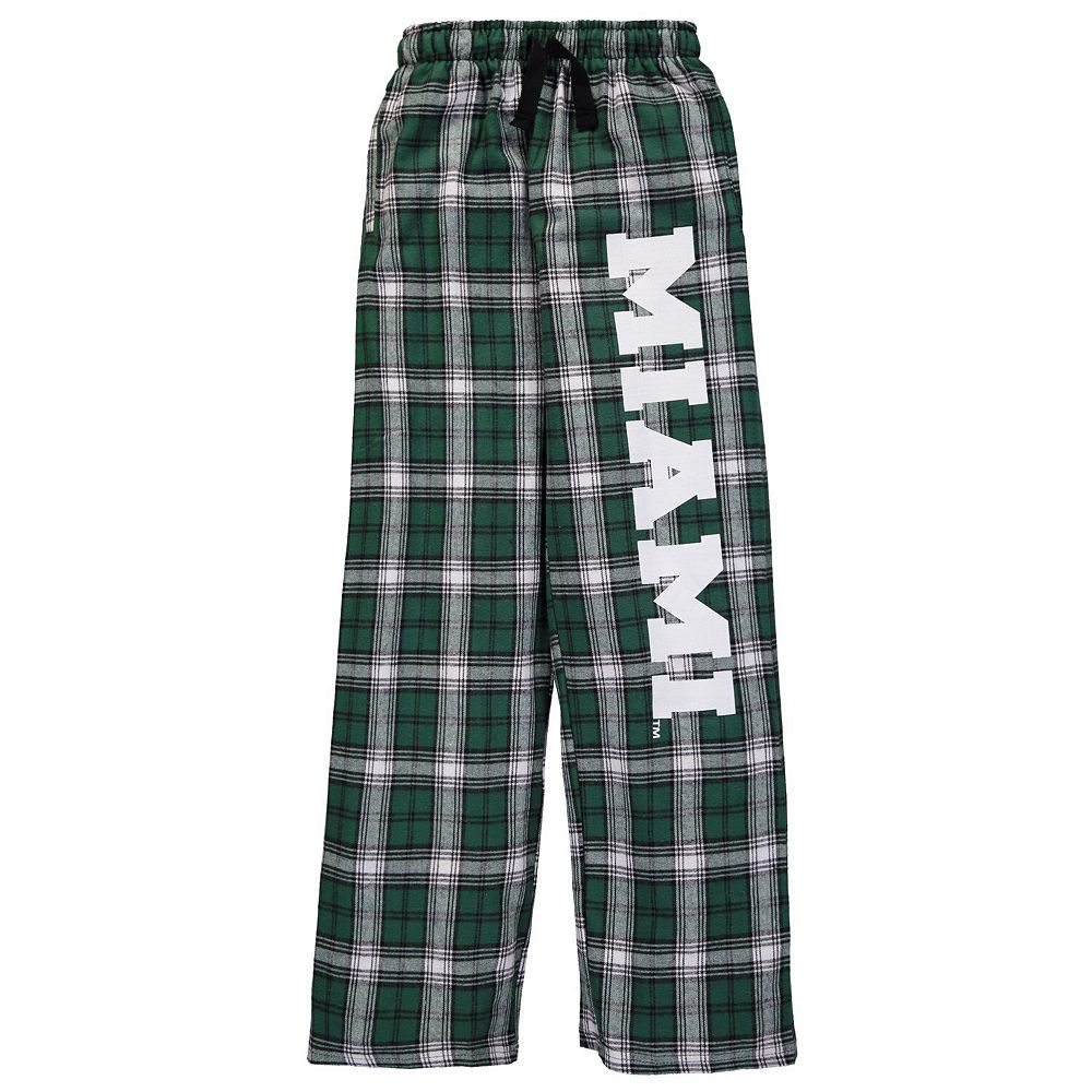 Youth Green Miami Hurricanes Plaid Flannel Pants