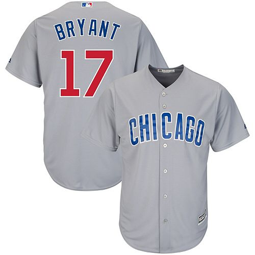 on sale 3b2a4 6fa62 Men's Majestic Kris Bryant Gray Chicago Cubs Cool Base ...