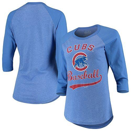 Women's Majestic Threads Royal Chicago Cubs Team Baseball Three-Quarter Raglan Sleeve Tri-Blend T-Shirt