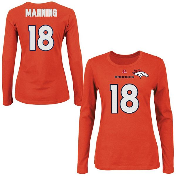 Peyton Manning Denver Broncos Majestic Womens Fair Catch V Name and Number Long Sleeve T-Shirt - Orange