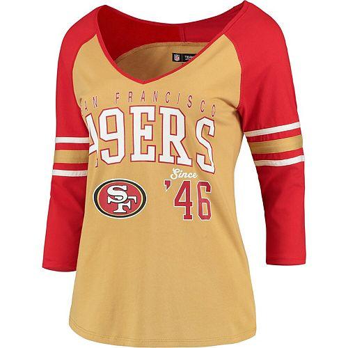 the latest e074d 34a68 Women's 5th & Ocean by New Era Gold/Scarlet San Francisco 49ers Blind Side  3/4-Sleeve Raglan V-Neck T-Shirt