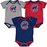 Infant Majestic Kris Bryant Red/Royal/Gray Chicago Cubs Name & Number 3-Pack Bodysuit Set