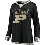Women's Heathered Charcoal Purdue Boilermakers Striped Panel Oversized Long Sleeve Tri-Blend Tunic Shirt