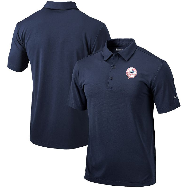 Men's Columbia Navy New York Yankees Cooperstown Collection Drive Polo. Size: Small. Blue