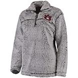 Women's Gray Auburn Tigers Sherpa Super Soft Quarter-Zip Pullover Jacket
