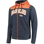 Men's Antigua Navy/Orange Denver Broncos Exertion Full-Zip Hoodie