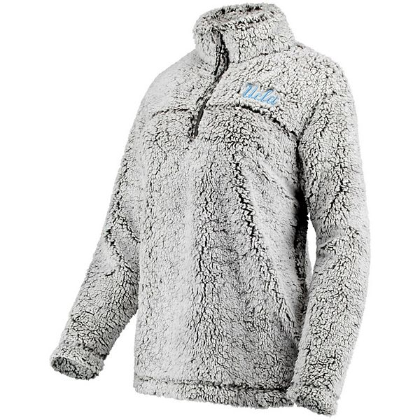 Women's Gray UCLA Bruins Sherpa Super Soft Quarter Zip Pullover Jacket