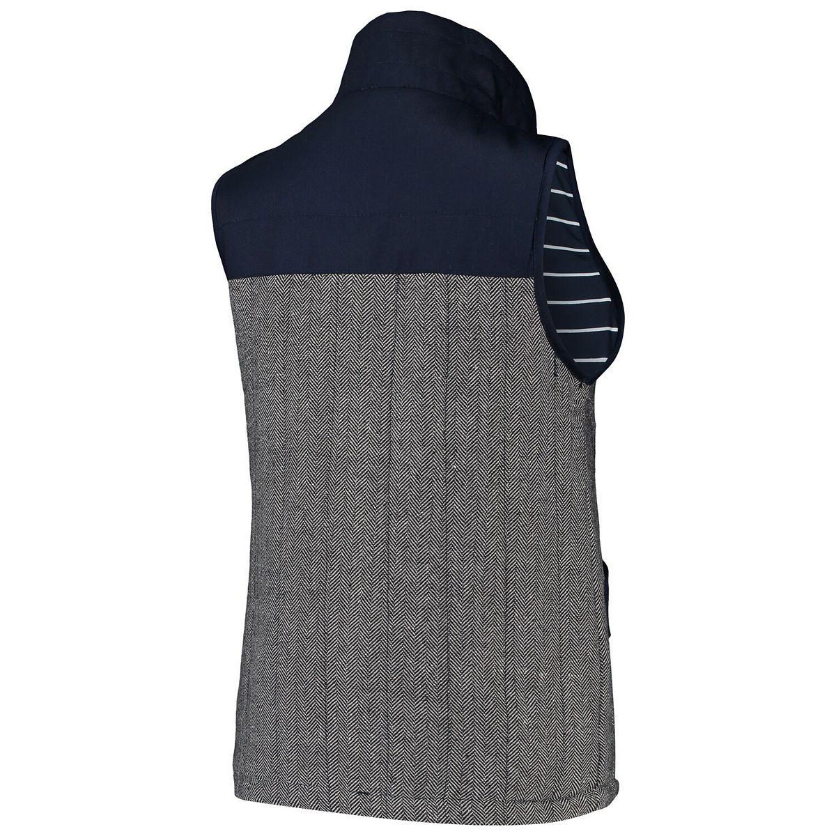Women's Navy Auburn Tigers Prep For It Herringbone Knit Full-Zip Vest egOKE
