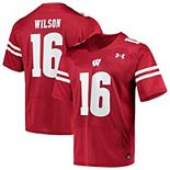 Men's Under Armour Russell Wilson Red Wisconsin Badgers Replica Alumni Jersey
