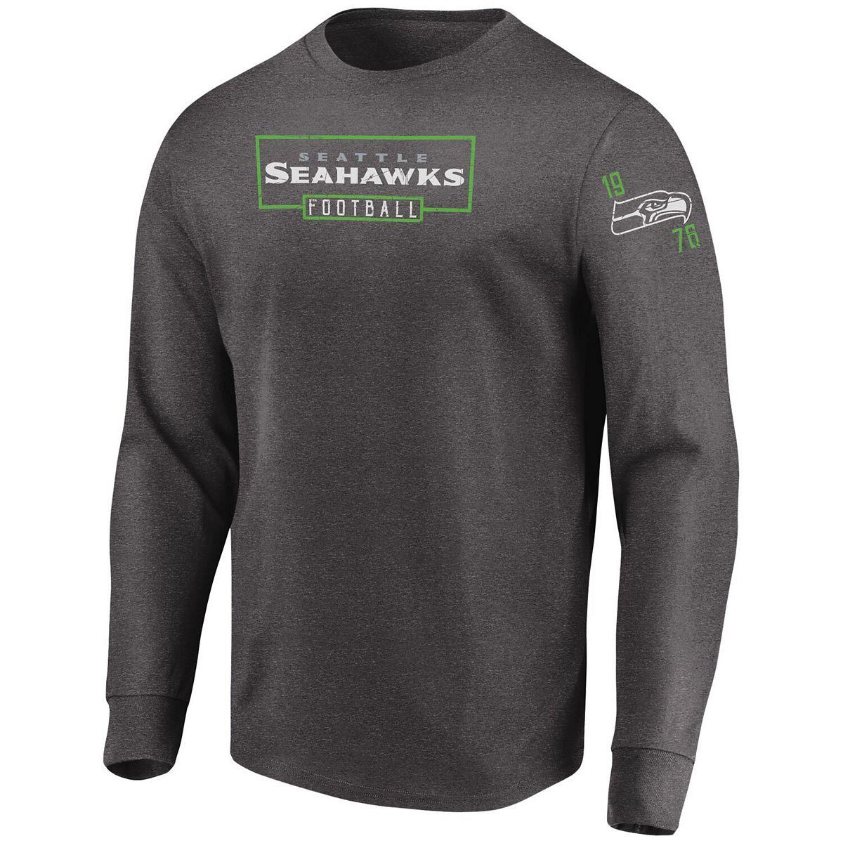 Men's Majestic Heathered Charcoal Seattle Seahawks Big & Tall Kick Return Long Sleeve T-Shirt cZCeZ