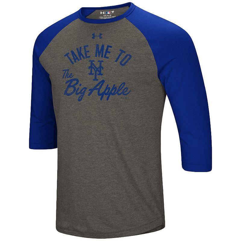 Men's Under Armour Heathered Gray/Royal New York Mets Heritage Performance Tri-Blend Raglan 3/4-Sleeve T-Shirt, Size: 3XL, Grey