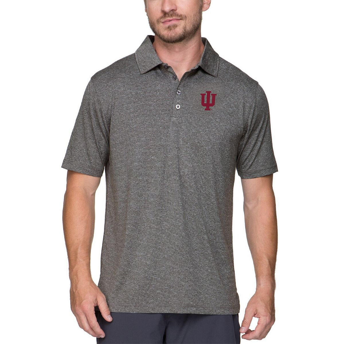 Men's Colosseum Gray Indiana Hoosiers Adventurer Microstripe Polo sjlcG