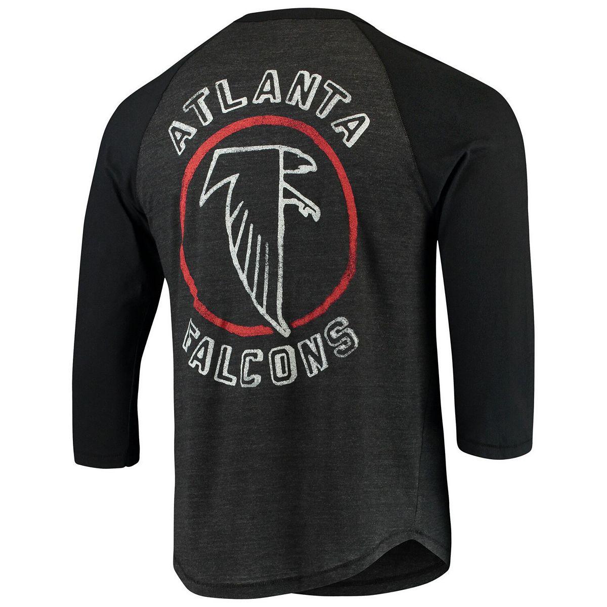 Men's Junk Food Heathered Black/Black Atlanta Falcons Contrast 3/4-Sleeve Raglan Tri-Blend T-Shirt oW7Ja