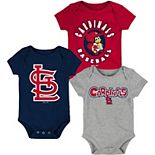 Infant Red/Navy/Heathered Gray St. Louis Cardinals Everyday Fan Three-Pack Bodysuit Set