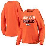 Women's New Era Heathered Orange Denver Broncos Cold Shoulder Tri-Blend Raglan Long Sleeve T-Shirt