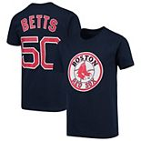 Youth Majestic Mookie Betts Navy Boston Red Sox Player Cap Logo Name & Number T-Shirt