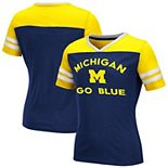 Girls Youth Colosseum Navy Michigan Wolverines Faboo V-Neck T-Shirt