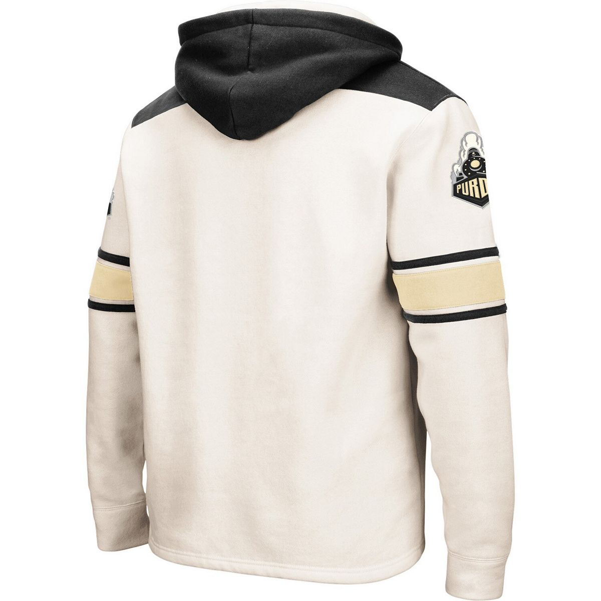 Men's Colosseum Cream Purdue Boilermakers 2.0 Lace-Up Pullover Hoodie 3YrCa