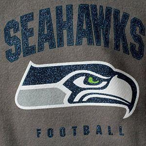 Women's New Era Gray Seattle Seahawks Playbook Glitter Sleeve Full-Zip Hoodie